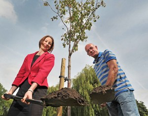 Rachel Reeves MP and Russell Hancock planting the Asbestos Memorial Tree